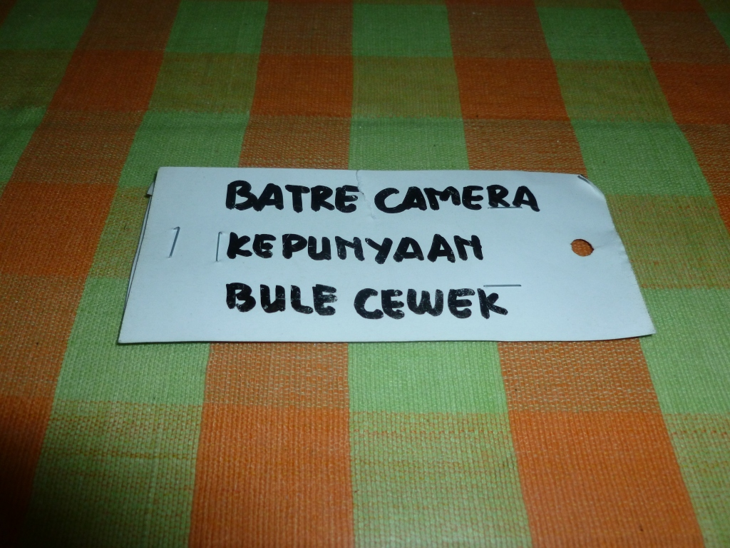 In English: Camera battery belonging to the foreign girl
