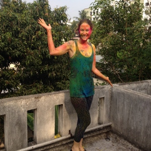 After Holi on the Cultural Center roof